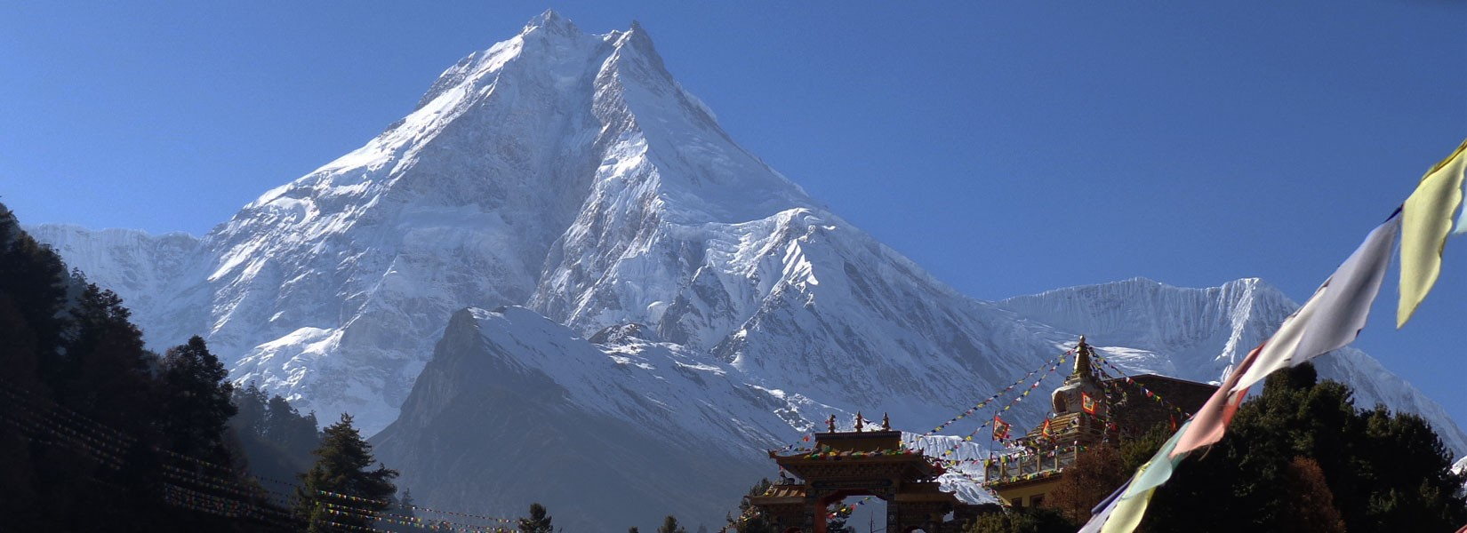 Mt. Manaslu (8163 M) as seen from Lho village