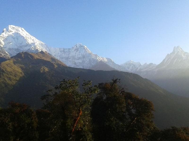 Annapurna South(7219 M), Hiunchuli (6441 M) and Machhapuchre (6997 M)