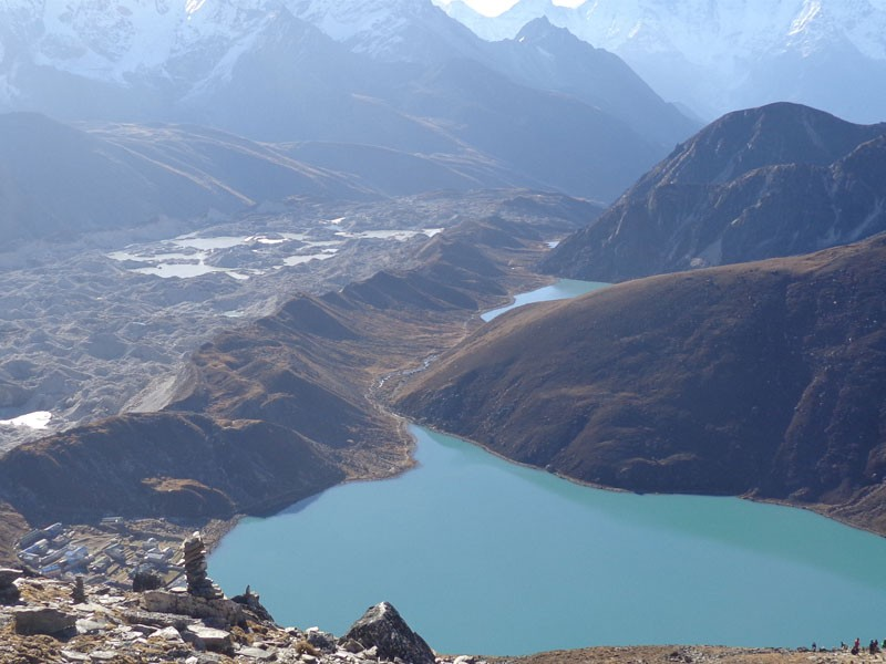 View of Gokyo as seen from the way to Gokyo Ri