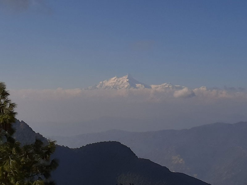 View of  Manaslu(8163 M) seen from a way near Chandragiri hill top