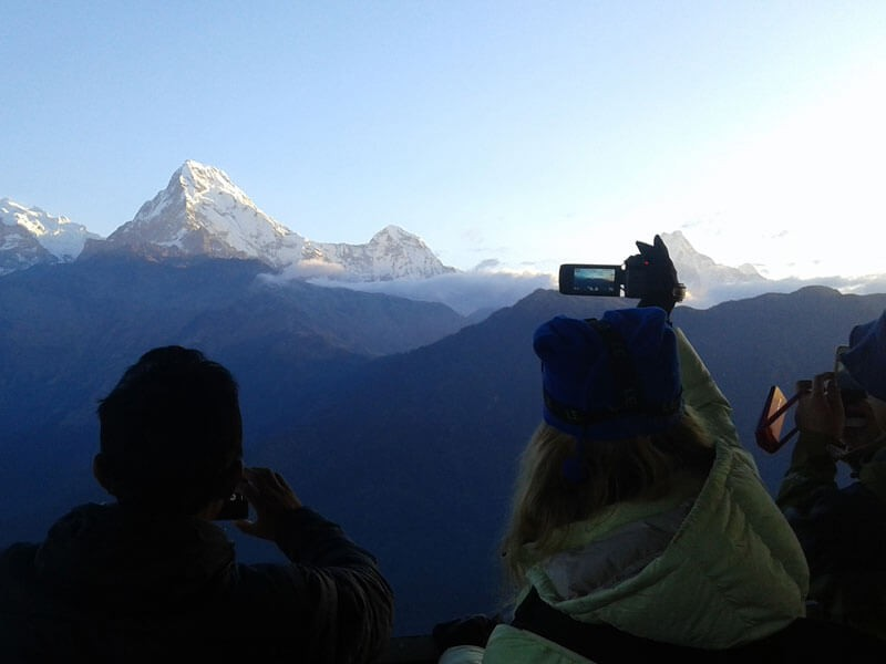 View of Annapurna South(7219 M), Hiunchuli (6441 M) and Machhapuchre (6997 M) from Poon Hill