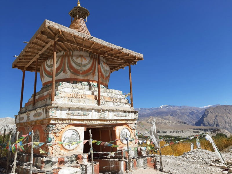 Huge Chorten at the entrance of Tsarang Village