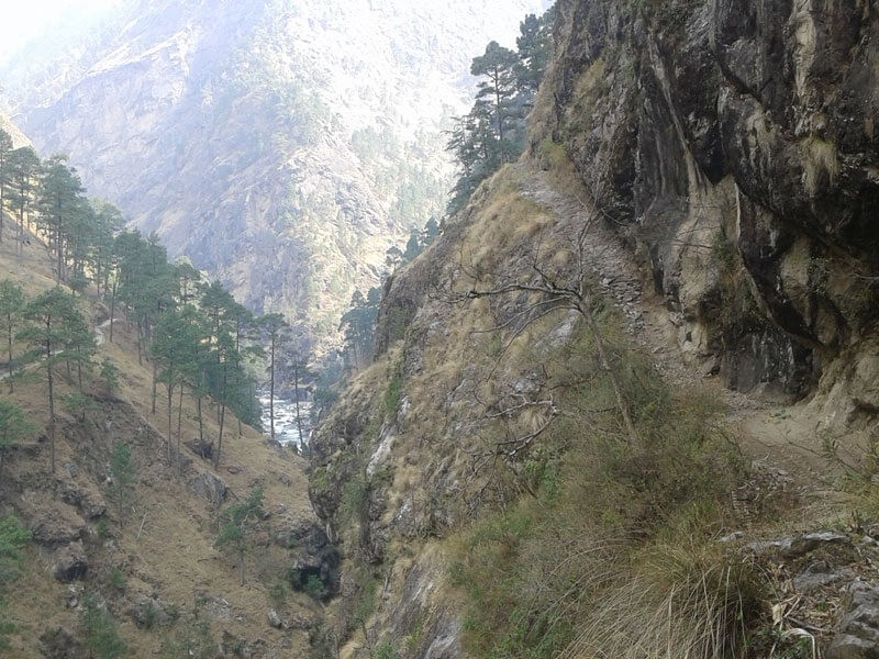 Way to Tsum Valley.  The way over the next hill is the Manaslu Circuit trail.